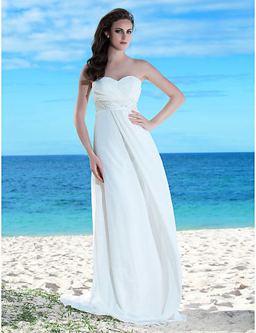 Sheath/Column Sweetheart Floor-length Chiffon Wedding Dress