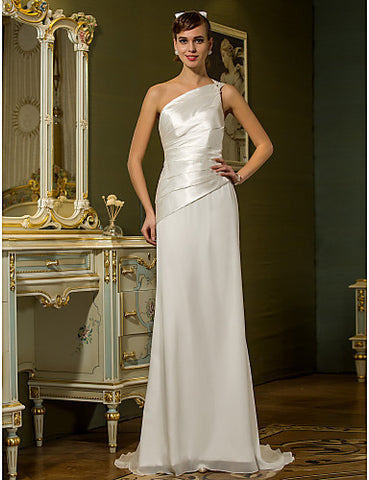 Sheath/Column One Shoulder Sweep/Brush Train Chiffon And Stretch Satin Wedding Dress (710765)