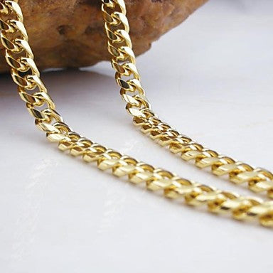 18K gold plated Figaro chain copper necklace 60cm