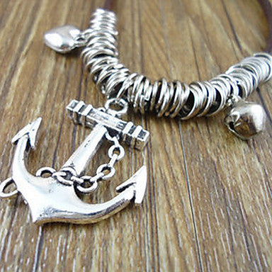 Men's Anchor Leather Pendant Necklace