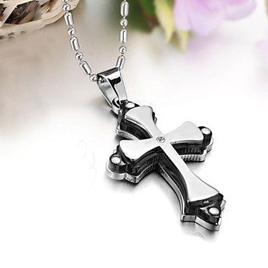 High Quality Titanium Cool Fashion Classic Double Cross Man Necklace