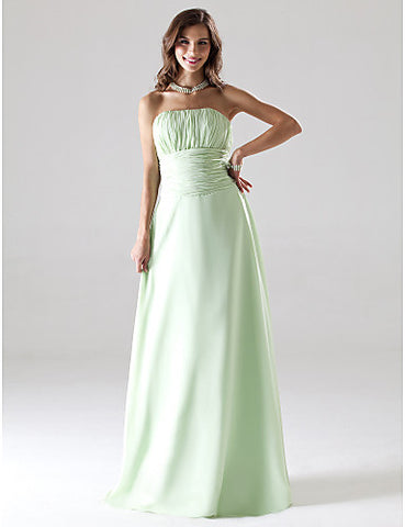 Bridesmaid Dress Floor Length Chiffon Strapless Party Dress