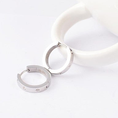 Fashion Men's Stainless Steel Diamonte Hoop Earring