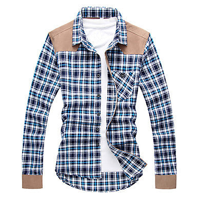 Men's Plaids Splicing Shirt