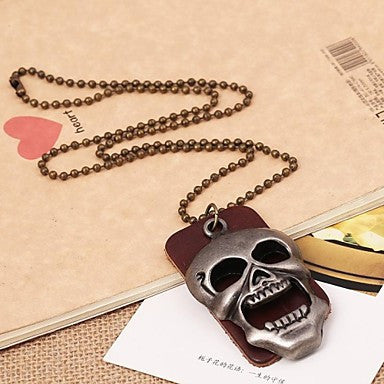 Fashion Punk Style Skull Leather Pandant Necklace(1pc)