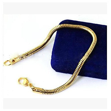 3.2CM*23CM European Snakle ShapeTitanium Steel Chain & Link Bracelets(Gold,Silver) (1 Pc)