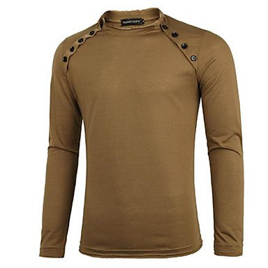 Men's Round Collar Multiple Button Long Sleeve T Shirt