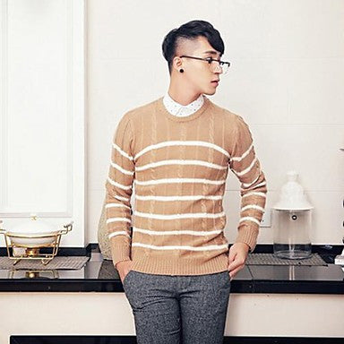 Men's Korean Style Slim Stripes Sweater