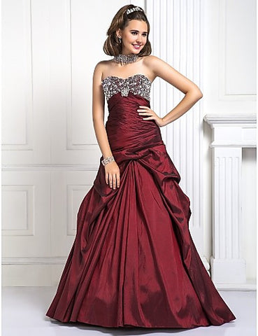 Ball Gown Sweetheart Floor-length Beading Taffeta Evening/Prom Dress