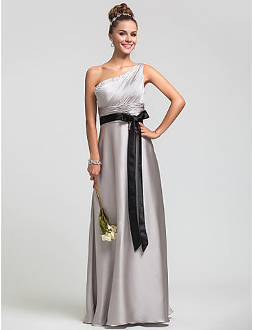 Sheath/Column One Shoulder Natural Floor-length Satin Chiffon Bridesmaid Dress