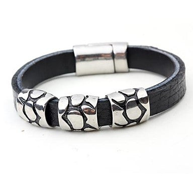 Mumar Fshionable Personalized Jewelry Leather Rope Wrap Stainless steel Bracelets