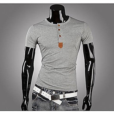 Men's Round Collar Short Sleeve Slim T-shirt
