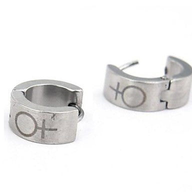 Men's Personality Titanium Steel Silver Symbol Earrings