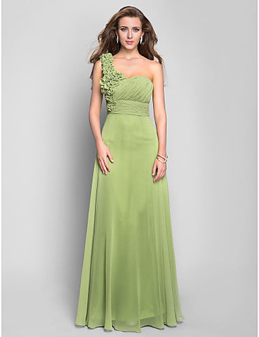 A-line One Shoulder Floor-length Chiffon Evening/Prom Dress