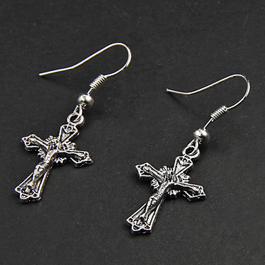 Punk Cross Silver Alloy Earrings(1 Pair)
