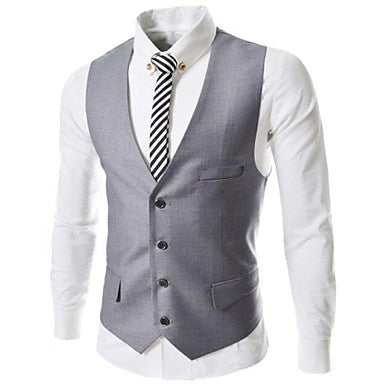 Men's Sleeveless Korean Film Fit Suit Vests