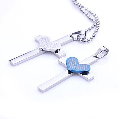 Mumar Fashion Two Colors Personalized Heart Cross Shapes Stainless Steel Pendant Necklace Men's Jewelry