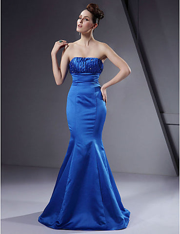 Bridesmaid Dress Floor Length Satin Trumpet Mermaid Strapless Wedding Party Dress