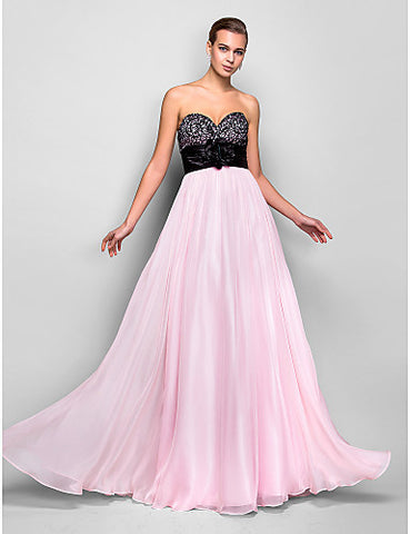 A-line Sweetheart Natural Floor-length Chiffon Evening/Prom Dress