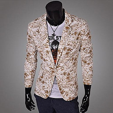 Men's Lapel Print Casual Coat