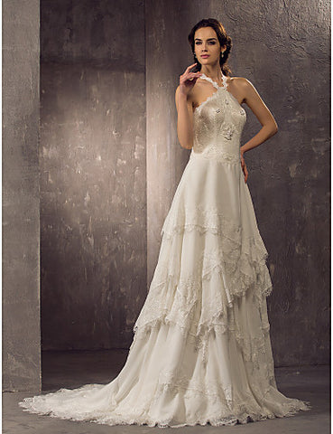 Sheath/Column Halter Court Train Chiffon And Lace Weddimg Dress (699582)