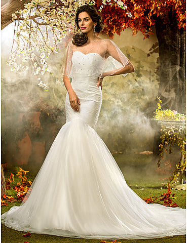 Wedding Dress Fit and Flare Court Train Tulle Sweetheart Bridal Gown With Wrap