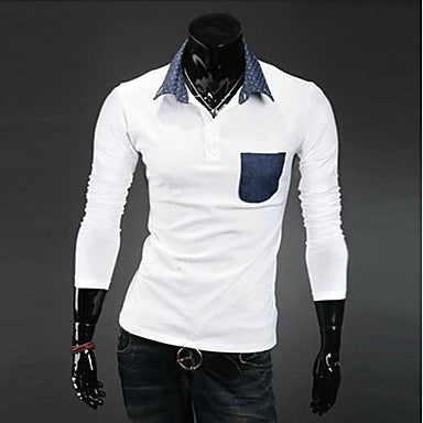Men's Lapel Slim Long Sleeve POLO Shirts
