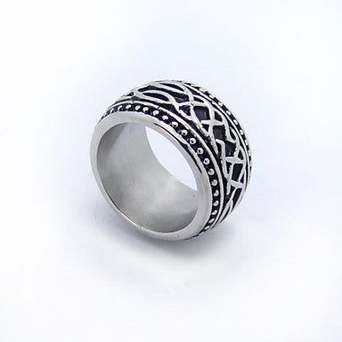 Stainless Steel Stripe Mature Man-sized Rings
