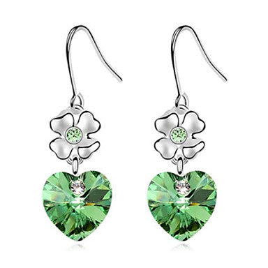Austria Fashion Crystal and Platinum Plated Drop Earring