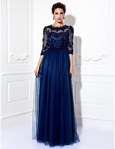 A-line Jewel Floor-length Tulle Evening Dress