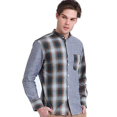 Men's Plaid Long-sleeved Shirt Collar Stitching