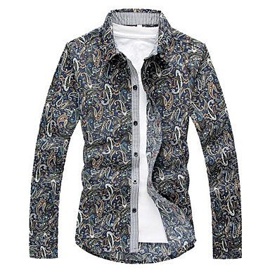 Men's European Casual Floral Print Long Sleeve Shirt