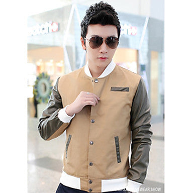 Men's Stand Collar Contrast Color Jacket