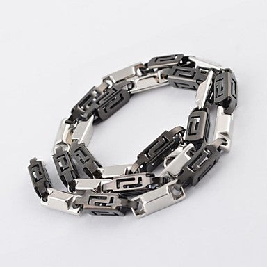Vintage Men's Thick Titanium Steel Black-shape Chain Necklace