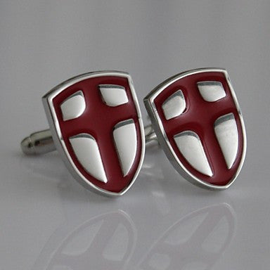 Crusaders Templar Knights Shield Cross Red Silver Suit Shirt Cufflinks