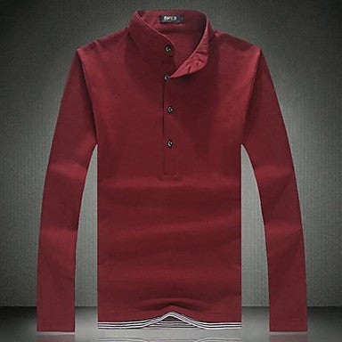 Men's Collar Leisure Pure Color Long Sleeve T-shirt