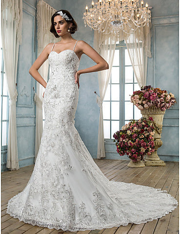Wedding Dress Trumpet Mermaid Chapel Train Tulle Spaghetti Straps With Beading Appliques