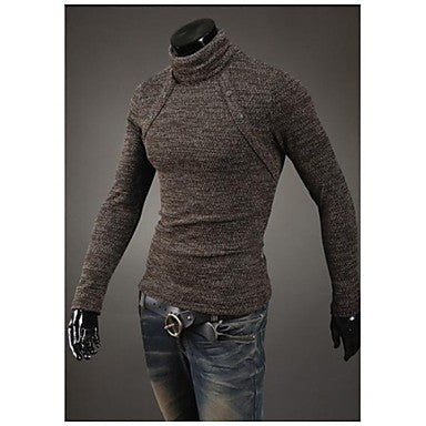 Men's Eight Button Design High-Necked Sweater