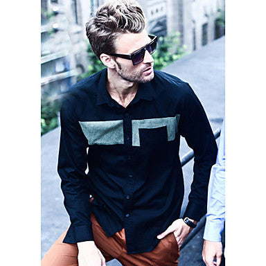 Men's Attractive Splicing Casual Long Sleeve Shirt