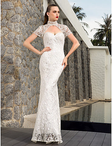Sheath Column Sweetheart Charmeuse And Lace And Satin And Stretch Satin Floor-length Wedding Dresses With A Wrap