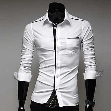 Men's Lapel Fashion Casual Long Sleeve Slim Shirt