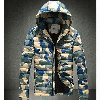 Men's Hooded Long Sleeves Zipper Fly Camouflage Pattern Jacket (More Colors)