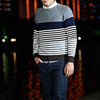 Men's Print Round Collar Stripes Knitwear Sweater