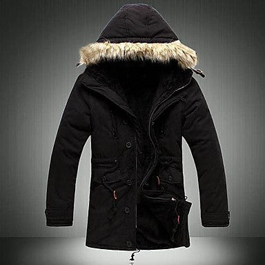 Men's Casual Hoods Long Section Pad Coat