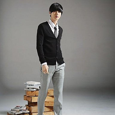 Men's Korean Style Slim Cotton Cardigan Sweater