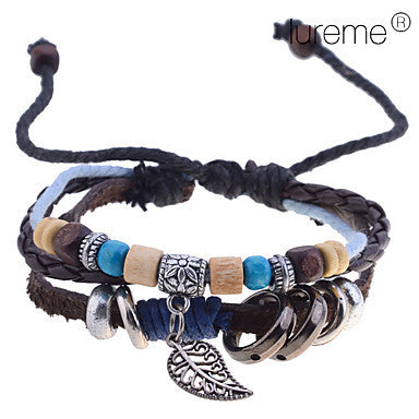Men's Lureme Amber Random Pendant Braided Leather Bracelet (Random Color)