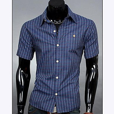 Men's Lapel Casual Plaids Short Sleeve Shirt
