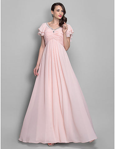 A-line/Princess V-neckl Floor-length Chiffon Grace Evening/Prom Dress