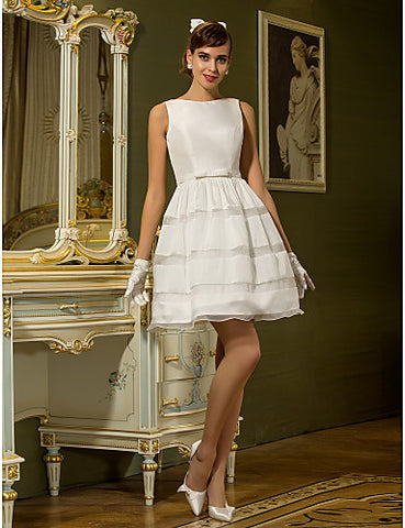 A-line Bateau Short/Mini Taffeta Wedding Dress (631211)