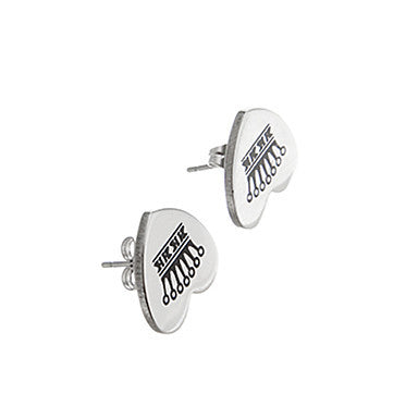 Classic Heart Crown Pattern Silver Alloy Stud Earring(1 Pair)